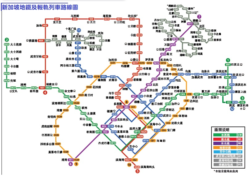 新加坡地鐵及輕軌列車路線圖